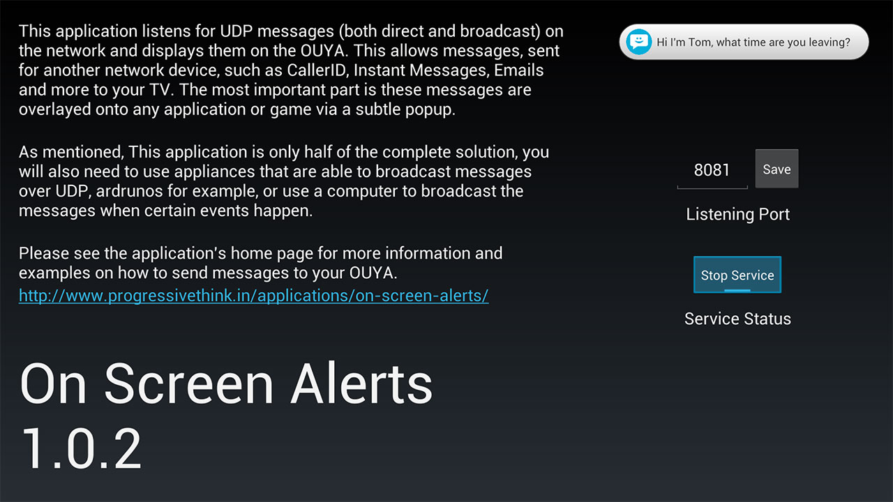 On Screen Alerts screenshot
