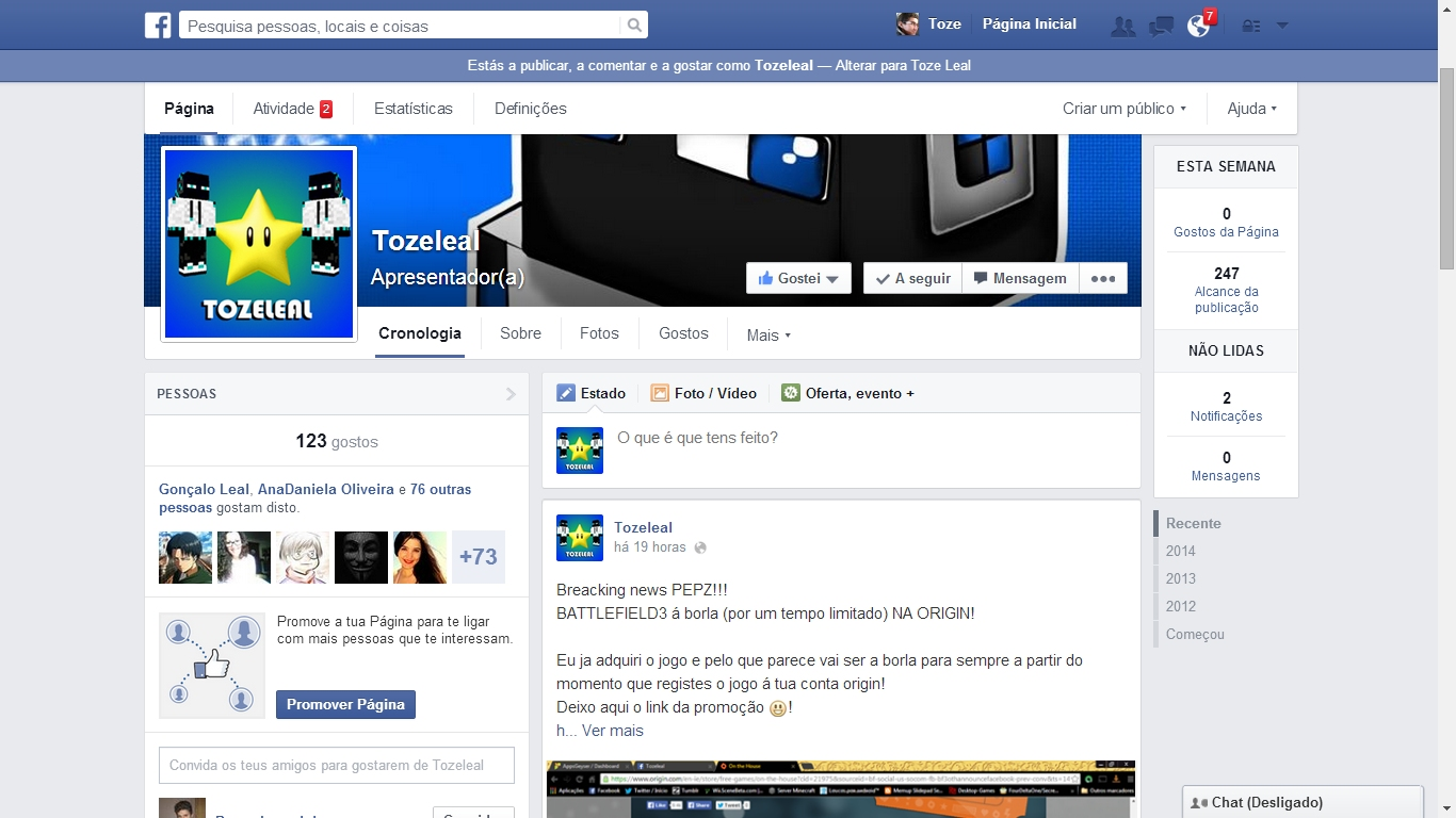 Unofficial Facebook screenshot