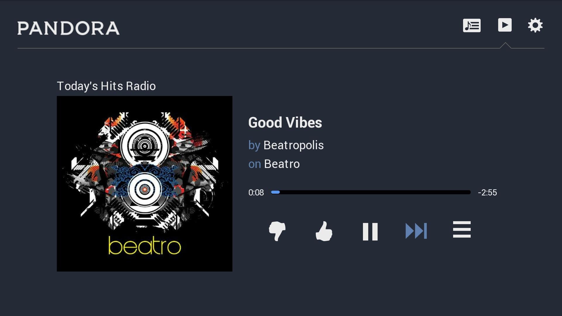Pandora on OUYA screenshot